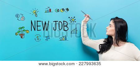 New Job With Young Woman Holding A Pen On A Blue Background