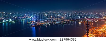 Aerial View Of The Osaka Bay Harbor Area At Night