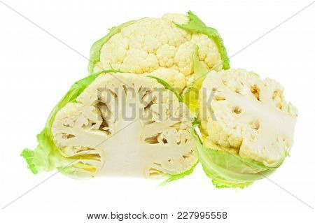 Freshly Cut Fresh Cauliflower, Concept Of Vegetarian Food. Studio Photo