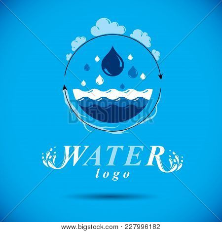 Vector Blue Clear Water Drop Logo For Use As Marketing Design Symbol.