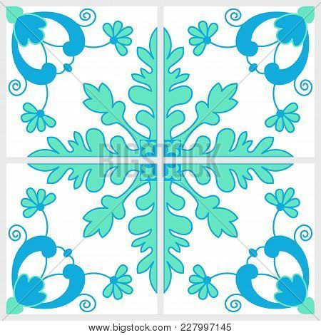 Gorgeous Abstract Blue Green Tile Seamless Pattern Design. Moroccan, Portuguese Or Mediterranean Til