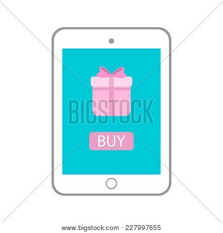 Tablet With Gift On Monitor Icon. Vector Tab Illustration Eps10