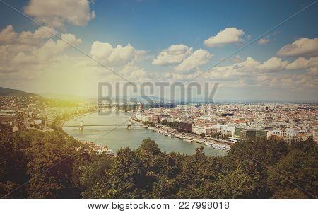 Vintage Style Photo Of Budapest Skyline. Hungary