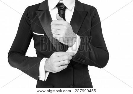 Business Fashion Style Concept. Hand Fix White Shirt Sleeve Cuff With Cufflink, Black And White