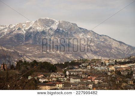 Alpine Town Village Povo Trento In Winter Light Rural