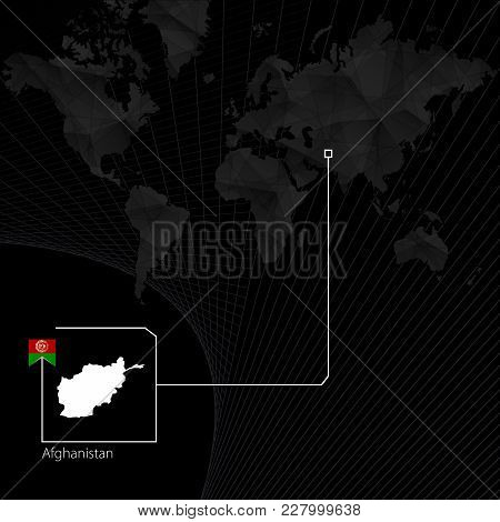 Afghanistan On Black World Map. Map And Flag Of Afghanistan.