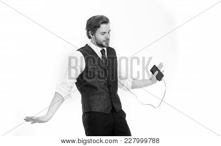 Manager With Beard On Inspired Face. Businessman Or Ceo Listen Music. Man In Formal Outfit With Mobi