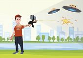 Augmented reality games. Boy with AR gun playing a shooter. Game weapon with mobile phone. Vector illustration in flat style. poster