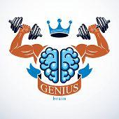 Brain with strong bicep hands of bodybuilder. Power Brain emblem, genius concept.  Brain training, grow IQ, mental health. poster