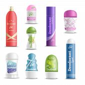 Deodorants spray sticks and roll-on types antiperspirant personal hygiene products realistic objects set isolated vector illustration poster