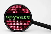 Close up of spyware concept over binary data background poster