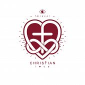 True Infinite Christian Love and Belief in God, vector creative symbol design, combined with infinity eternal loop and Christian Cross, vector logo or sign. poster