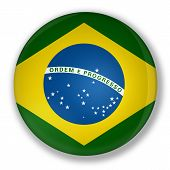 Illustration of a badge with flag of brazil with shadow poster