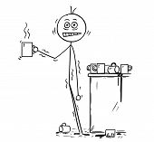 Cartoon stick man drawing conceptual illustration of overworked businessman under pressure overdosed by caffeine from coffee. Business concept of stress and unhealthy lifestyle. poster