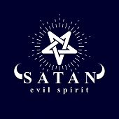 Vector pagan symbol, pentacle created with Satan inscription. Demonic infernal illustration. poster