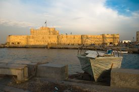Egypt. Alexandria. View of the fort Qaitbey.