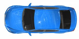 car isolated on white - blue paint, tinted glass - top view - 3d rendering