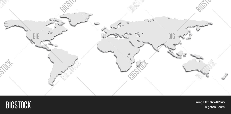 Black White D World Map Vector Photo Bigstock - Big black and white world map