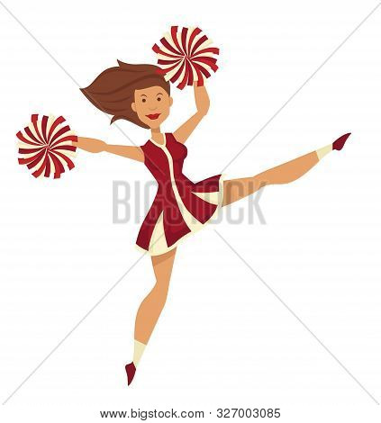 Cheerleader In Uniform With Pompoms Dancing And Jumping