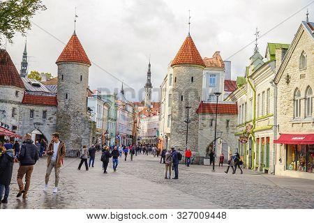 Tallinn, Estonia- October 1st 2019:twin Towers Of Viru Gate In The Old Town Of Tallinn, Estonia