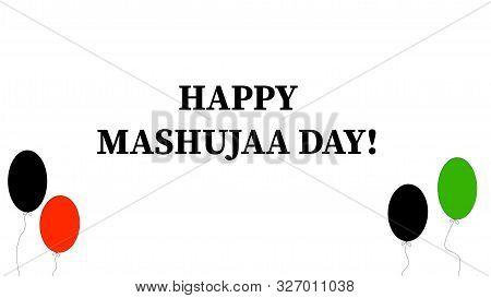 Nairobi, Kenya - October 10: Happy Mashujaa Day Words And Balloons With Kenya Flag Colors Designed I