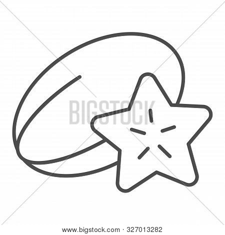 Starfruit Thin Line Icon. Tropical Food Vector Illustration Isolated On White. Carambola Outline Sty