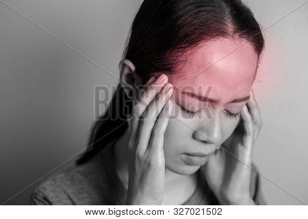 Black And White Young Woman With Of Stress And Headaches.