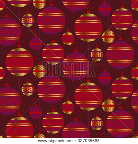 Christmas Vivid Red And Magenta Tree Balls Seamless Pattern