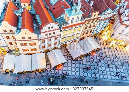 Prague - September 26, 2019: Aerial View Of Historical Houses At Old Town Square With Restaurant Gar