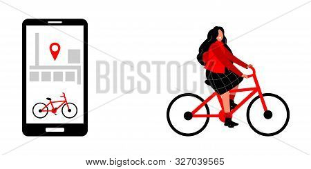 Bicycle Rental In The City Using Your Phone. Sharing Bicycles And Parking At The Dock. The Girl Rent