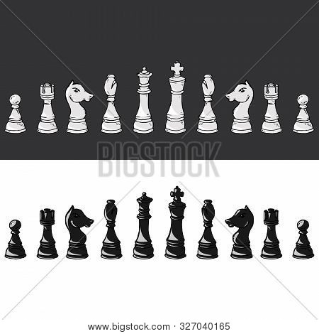 Chess Piece Icon. Vector Illustration Set Of Chess Pieces. Pawn, Knight, Horse, Bishop, Elephant, Ro