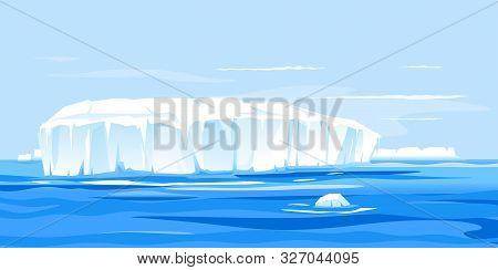 One Giant Iceberg In Ocean Landscape Illustration, Global Warming Concept Illustration, Iceberg Drif