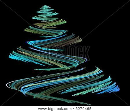 teal blue christmas tree illustration on black poster