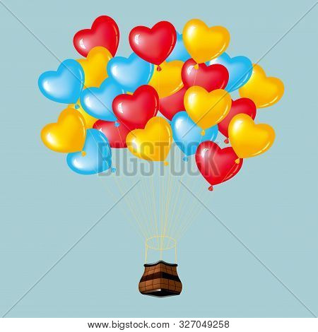 Hot Air Balloon With Heart Shaped Balloons. Isolated On Blue Background.