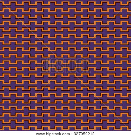 Seamless Pattern In Halloween Traditional Colors. Battlement Curved Lines Abstract Background. Scrap