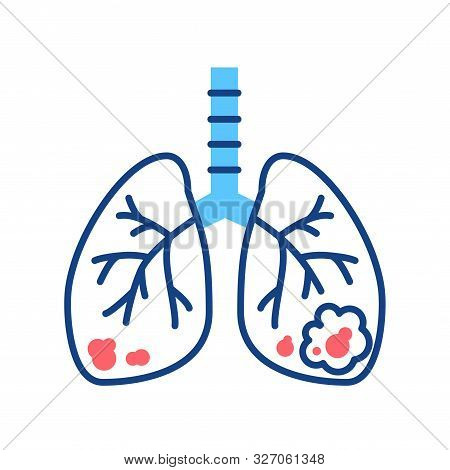 Lungs Cancer Line Color Icon. Human Organ Concept. Malignant Neoplasm. Sign For Web Page, Mobile App