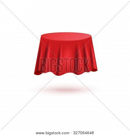 Red Silk Curtain Cover In Round Table Shape With Realistic Fabric Texture