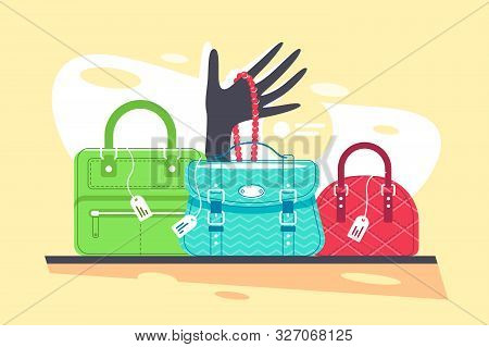 Shop Window Of Blue, Red And Green Handbag, Necklace. Concept Clothes And Bijouterie Store On Clorof
