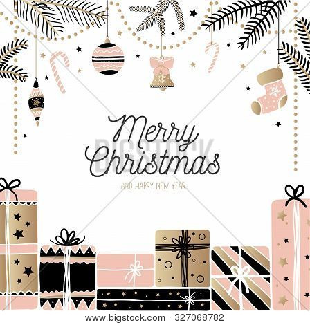 Merry Christmas Joyful Greeting Card Festive Design Vector Illustration. Diverse X-mas Attributes Sh