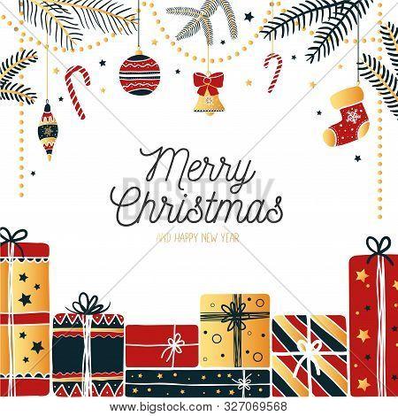 Joyful Greeting Card Merry Christmas Joyful Festive Design Vector Illustration Drawn In Happy X-mas