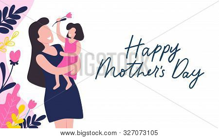 Mothers Day Greeting Card With Blossom On White Vector Illustration. Postcard Decorated By Colorful