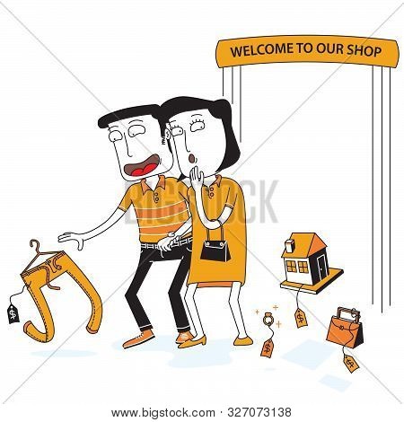 Illustration Of Couple Walk In A Shop