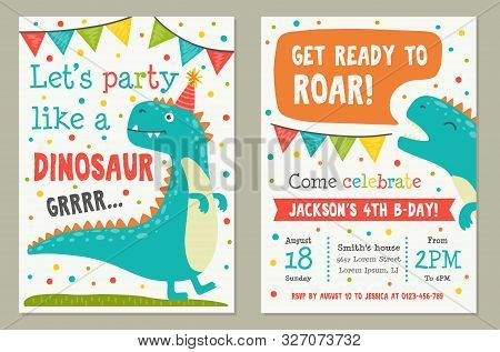 Dinosaur Toy Party Invitation Card Template Vector Illustration. Lets Party Like Dino And Get Ready