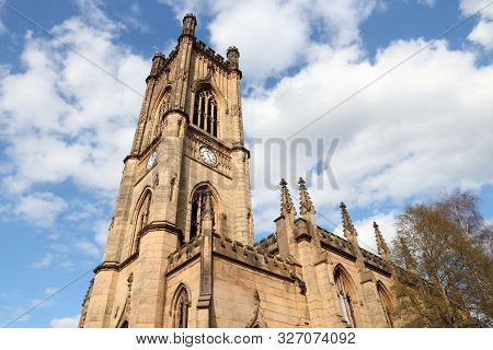 St.luke's Church In Liverpool Uk. The Landmark Is Also Known As Bombed-out Church, Suffering Damage