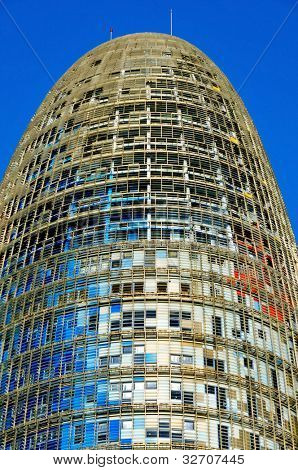 BARCELONA, SPAIN - JANUARY 22: Torre Agbar on January 22, 2011 in Barcelona, Spain. The 38-storey tower, placed in the Technological District of the city, was designed by famous architect Jean Nouvel