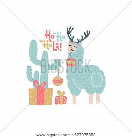 Cute Alpaca Christmas Greeting Card Vector Templates For Kids With Cactus, Gift Boxes, Funny Color L