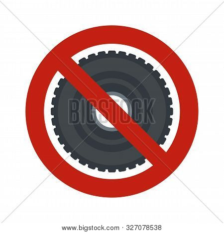 No Rubber Tire Icon. Flat Illustration Of No Rubber Tire Vector Icon For Web Design