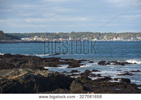 Portsmouth Harbor Lighthouse And New Castle Coast, From Odiorne Point State Park In Rye, New Hampshi