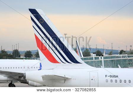 Paris France - June 19, 2019: Air France Airline At Charles De Gaulle Airport Paris France