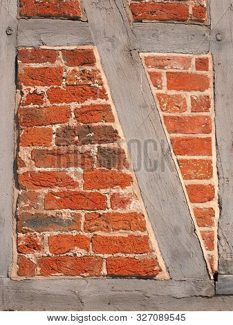 Historic Wall Segment Of A Residential Brick Housing Near Hamburg, Germany
